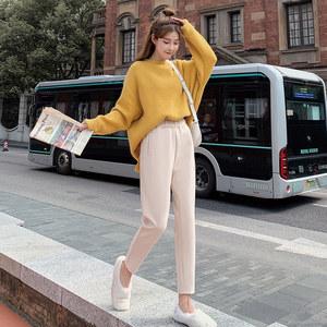 2019新款秋冬宽松直筒毛呢裤子女裤