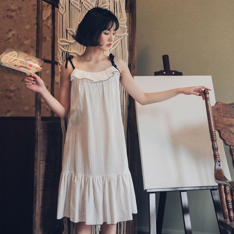清新脱俗 夏天吊带睡裙女夏季薄款性感纯棉白色小仙女公主风睡衣10月20日最新优惠