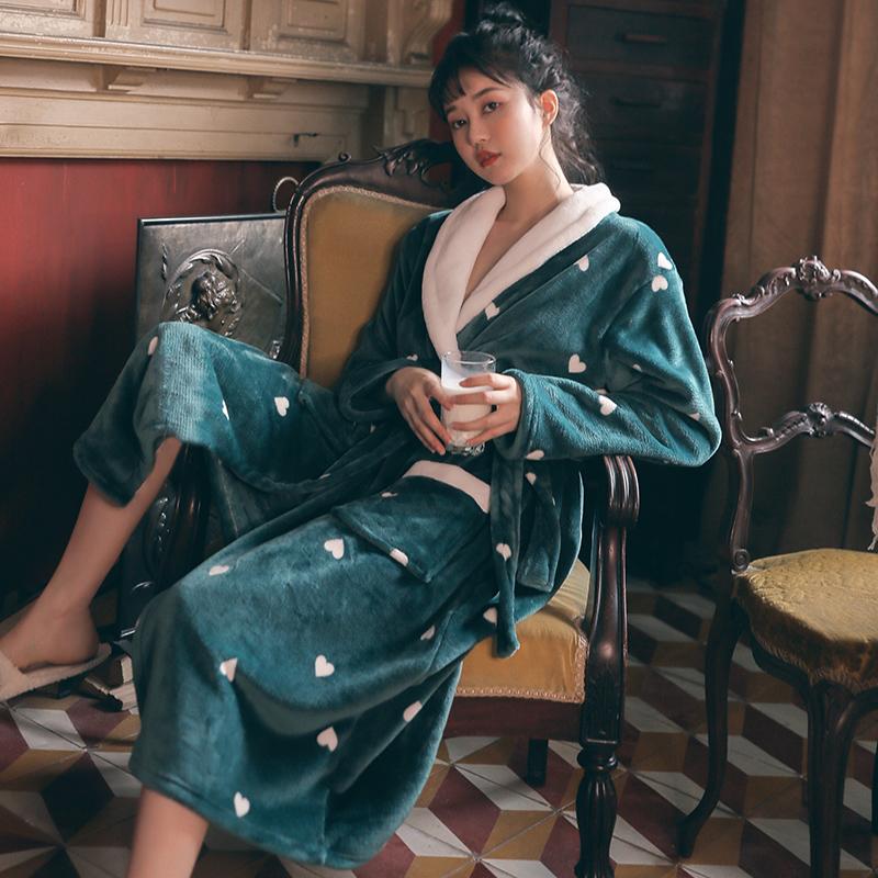 情侣珊瑚绒睡袍女秋冬季法兰绒浴袍加绒加厚加长款男士浴衣睡衣春图片