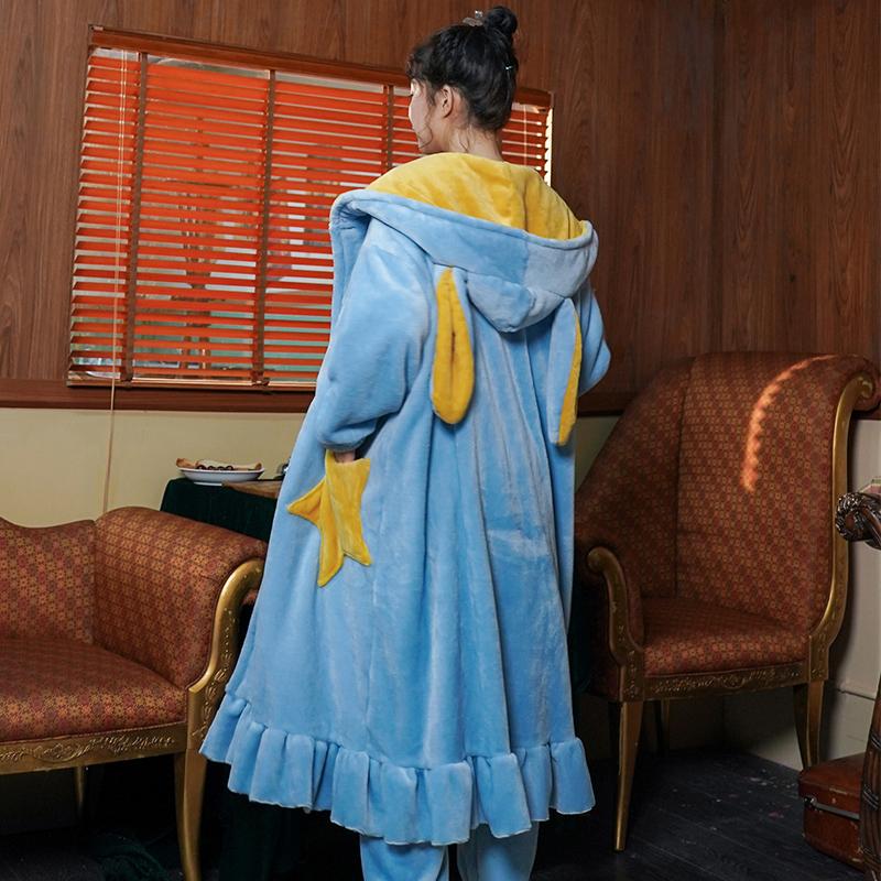 秋冬法兰绒两件套装长款星星睡袍