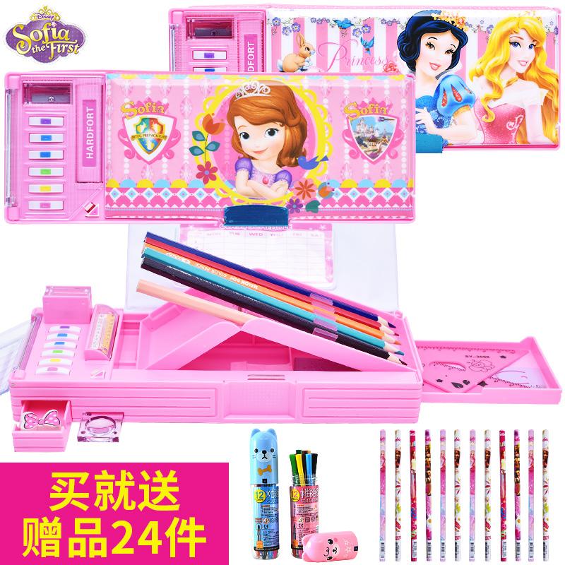 苏菲亚文具盒 小学生女孩可爱公主卡通儿童多功能自动铅笔盒塑料
