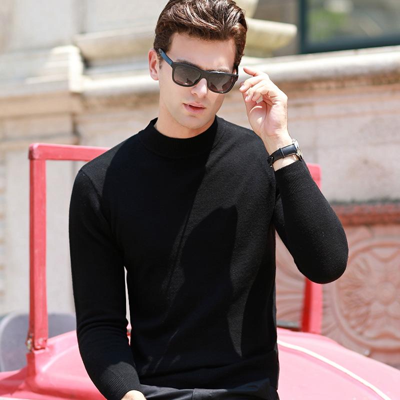 100%羊毛衫男士打底衫秋冬季新款韩版修身套头纯羊毛衣男装加厚潮