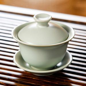 汝道 陶瓷盖碗三才盖碗汝瓷可养开片茶碗功夫茶具汝窑盖碗敬茶杯