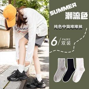 夏天黑色纯棉jk运动长筒ins中筒袜