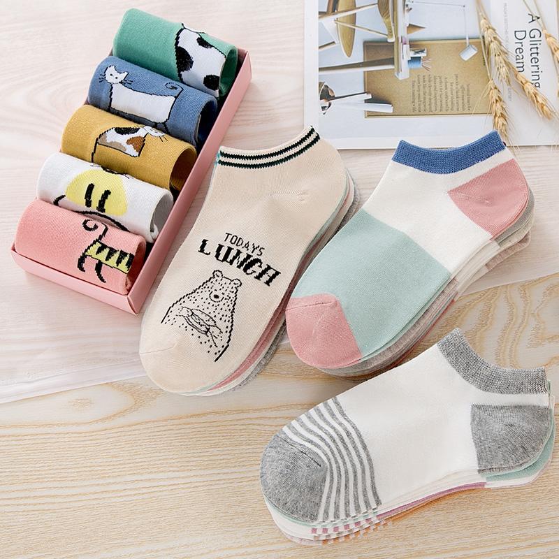 袜子女短袜浅口女士低帮短筒隐形薄款船袜ins潮夏季防滑中筒纯棉