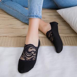 5双蕾丝船袜女浅口隐形袜子韩版春夏季花边棉底袜防滑单鞋短袜套