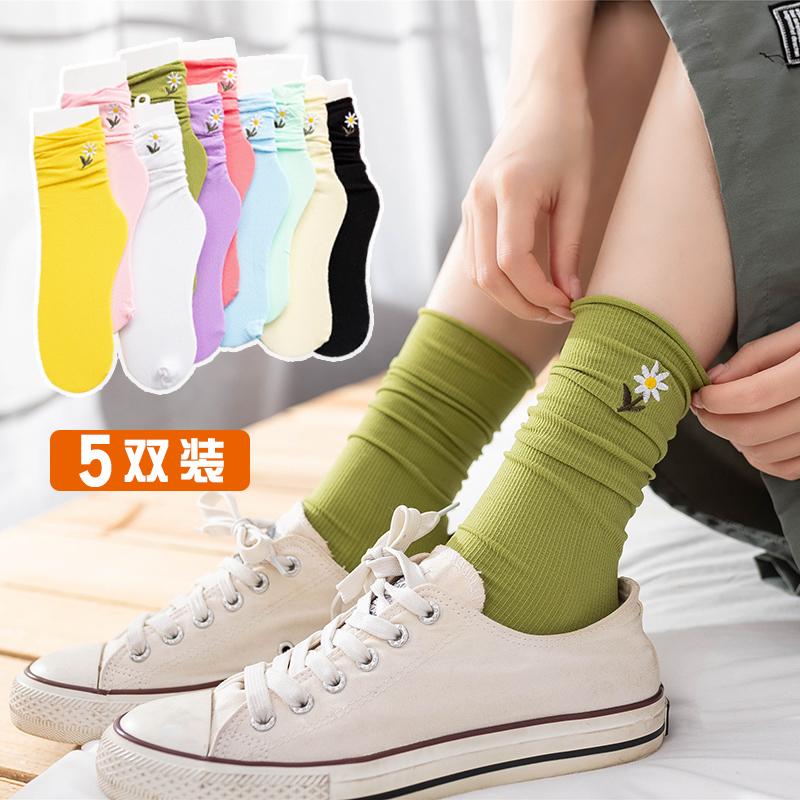 网红袜子女中长筒袜夏季薄款小雏菊天鹅绒ins潮可爱糖果色堆堆袜