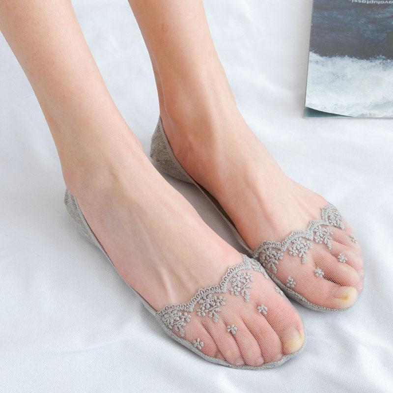 船袜女士蕾丝花边隐形超薄袜底纯棉硅胶防滑侧边镂空短袜子女夏季