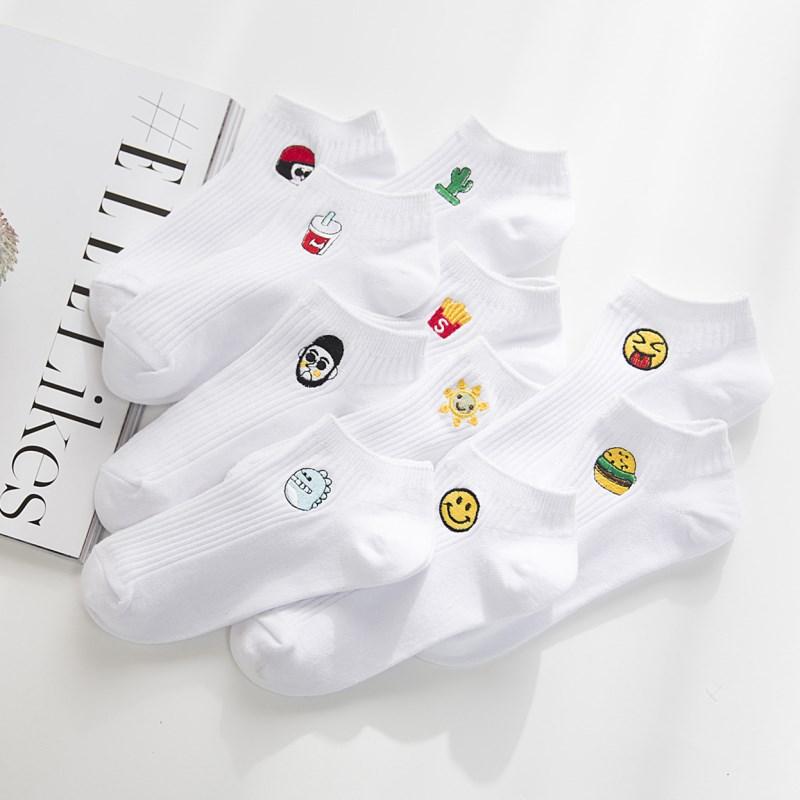 韩版ulzzang袜子女船袜白色纯色卡通小白袜纯棉低帮隐形浅口短袜