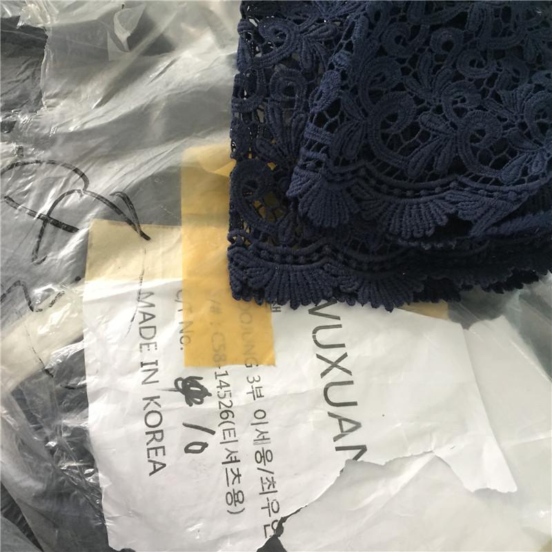 韩国进口客供 全棉纯棉蕾丝面料 深蓝色 服装面料布料DIY辅料