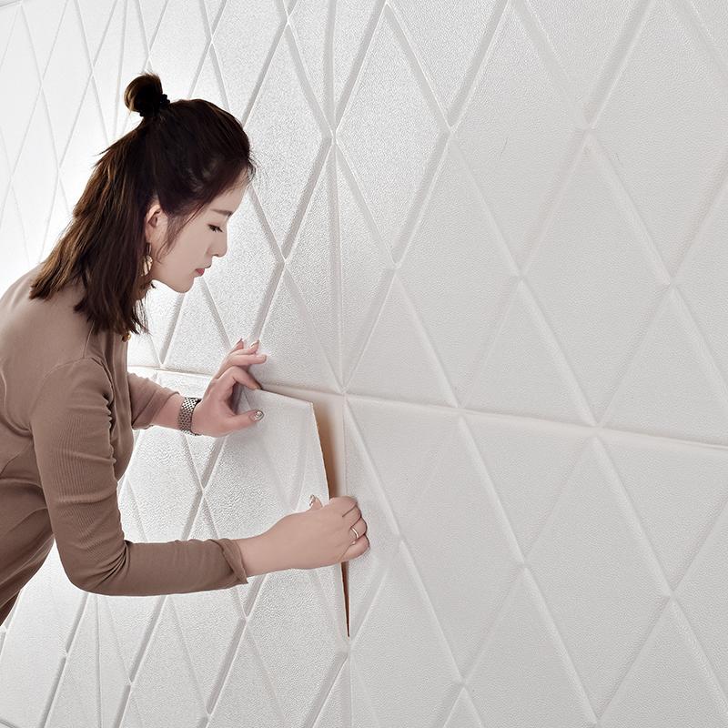 自粘墙纸3d立体墙贴防撞软包客厅电视背景墙装饰壁纸贴画防水贴纸