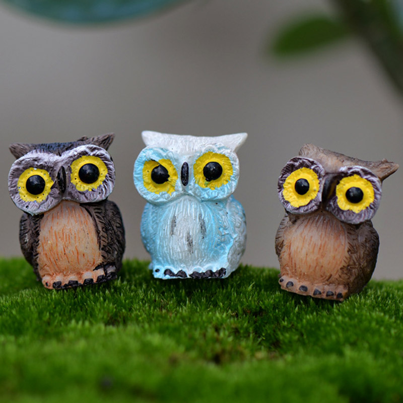 微景观生态瓶森林动物小摆件卡通三色猫头鹰公仔手工盆栽造景装饰