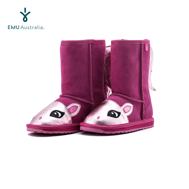 Emuustralia Australian childrens snow boots middle tube boots cartoon cute pony warm, breathable and water-resistant