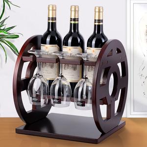 红酒架摆件红酒杯架倒挂酒瓶实木欧式创意葡萄酒展示架创意摆件