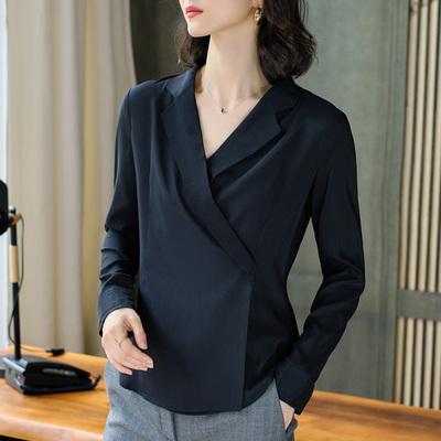 女士衬衫秋装时尚上衣西装领洋气长袖洋气黑色高端雪纺衬衣职业装