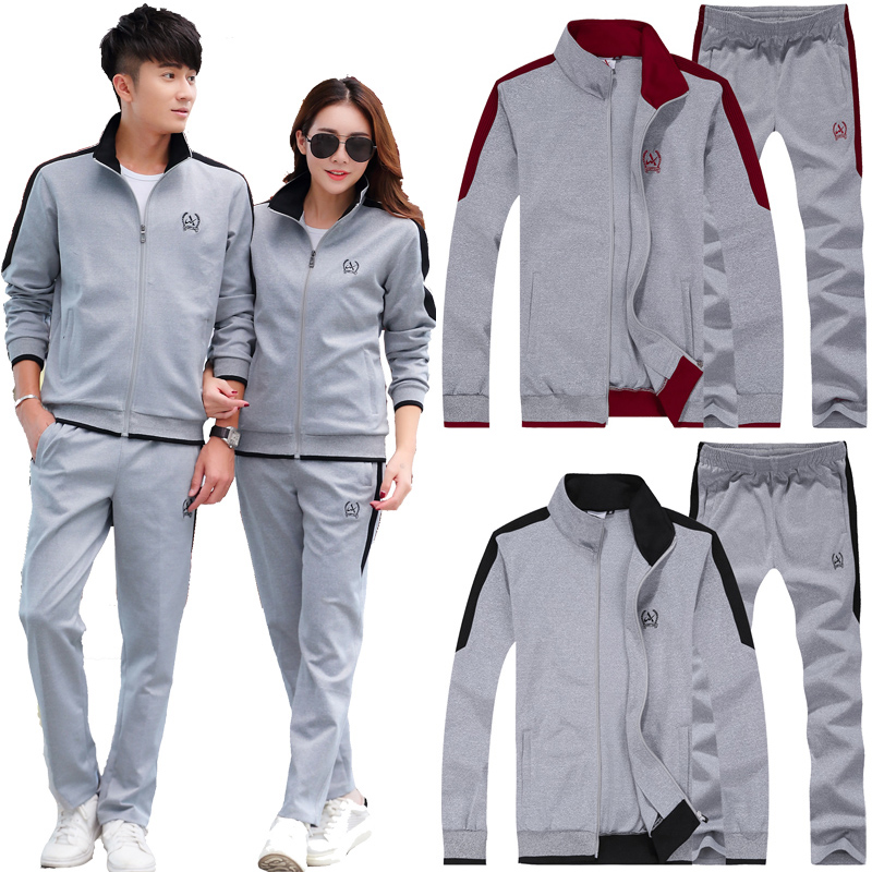 Mens sportswear womens spring and autumn and winter couple casual sweater pants two piece sportswear Plush thickening