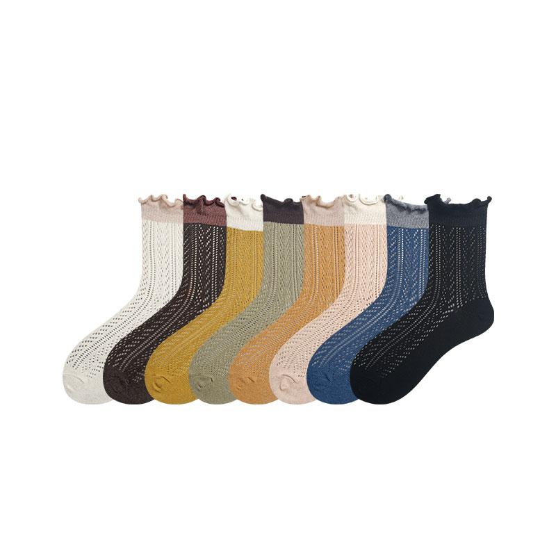七町目袜子女士中筒袜纯棉镂空堆堆袜日系木耳边甜美女袜春夏薄款