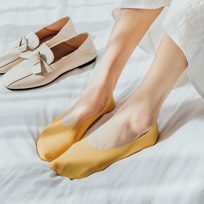 4双袜子女夏薄款冰丝船袜棉底韩版ins潮硅胶防滑不掉根浅口隐形袜
