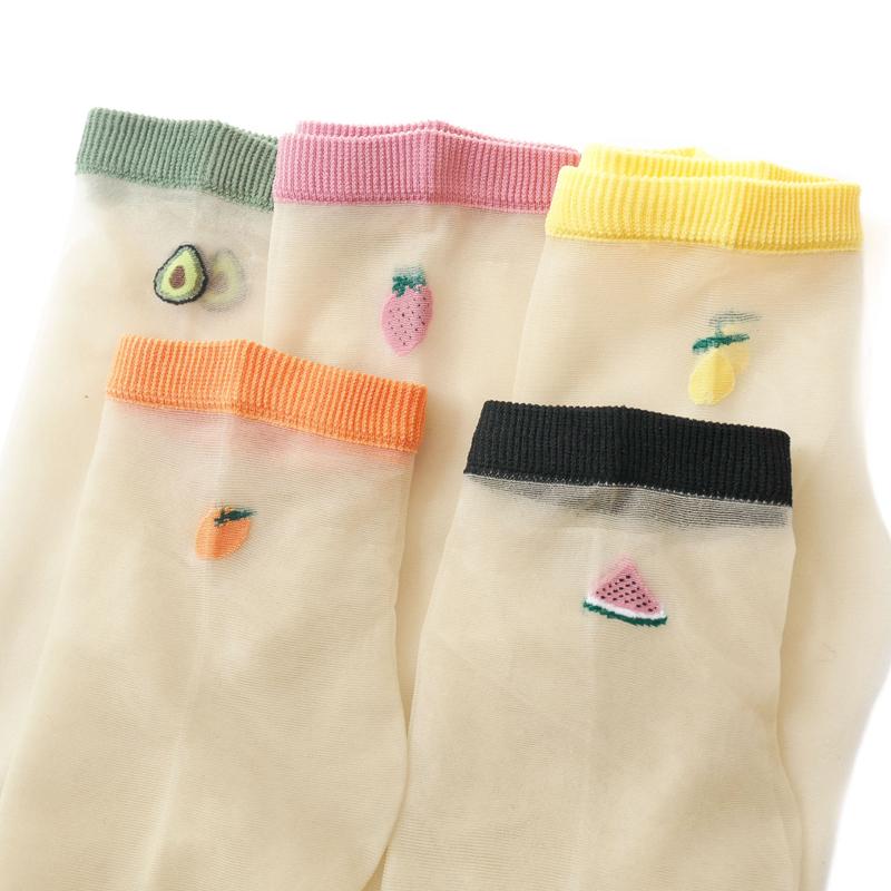 3双装透明袜子女春夏超薄短丝袜日系可爱水果玻璃丝袜韩版卡丝袜