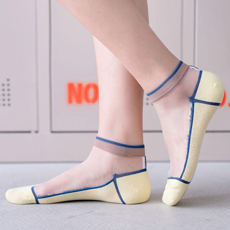 七町目透明袜子女浅口短袜春夏薄款脚底纯棉透气玻璃丝袜水晶船袜