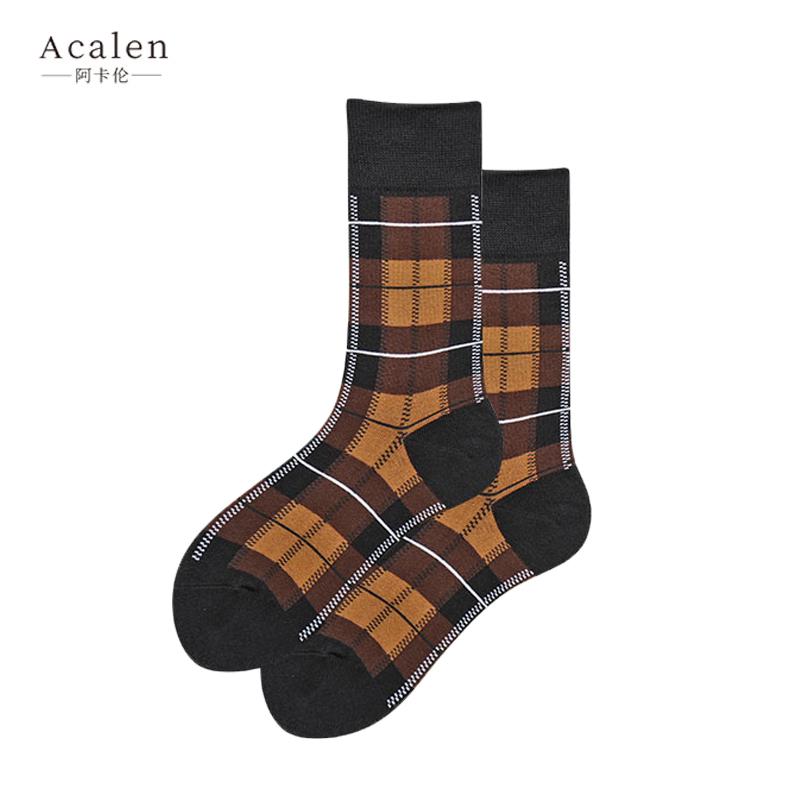英伦袜子女中筒袜复古方格学院风长袜男女潮袜街头欧美潮流棉袜