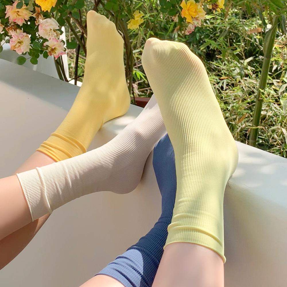 冰冰袜子女夏季薄款中筒袜ins潮网红白色天鹅绒冰丝夏天长堆堆袜