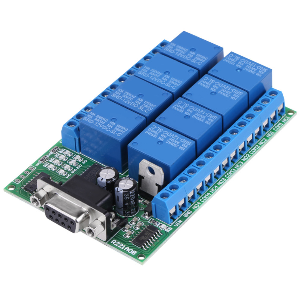 12V 8-Channel DB9 RS 232 Relay Module Remote Control Switch,可领取元淘宝优惠券