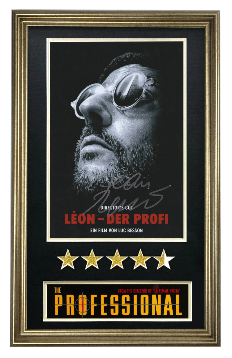 Let Renault autograph this killer is not too cold Movie Poster review star photos framed photo frame with certificate