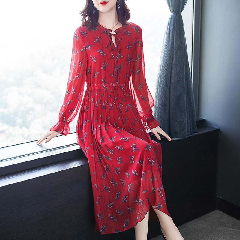 碎花雪纺连衣裙春季2020新款女装收腰显瘦红色裙子轻熟风气质洋气