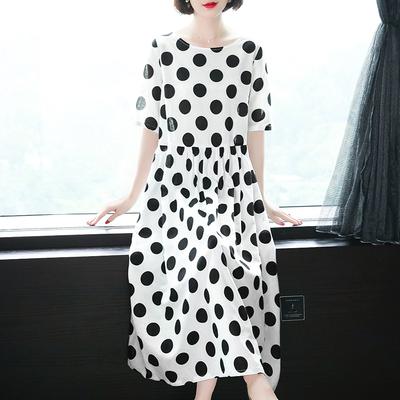 夏装纯苎麻黑色波点连衣裙2020新款女装圆领宽松显瘦长款棉麻裙子