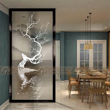 新艺术玻璃3d立体屏风 磨砂透光客厅隔断入门玄关过道背景墙麋鹿