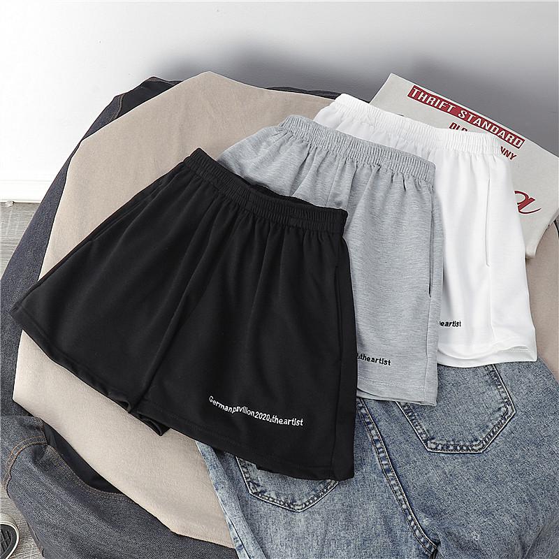 棉运动短裤女夏高腰沙滩休闲短裤外穿热裤大码宽松胖MM阔腿裤睡裤