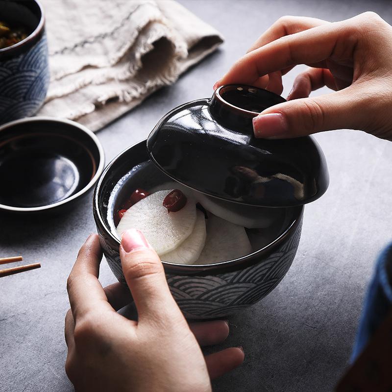 海波纹 日式炖盅陶瓷带盖创意蒸鸡蛋盅蒸蛋碗燕窝盅家用汤盅商用