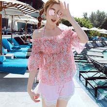 新款泳衣 时尚性感钢托款比基尼平角四件套泳衣