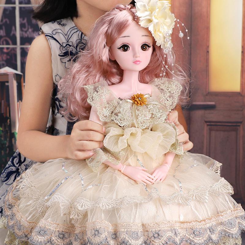 大号60厘米仿真单个精致黛蓝芭比洋娃娃套装超大公主女孩玩具布 thumbnail