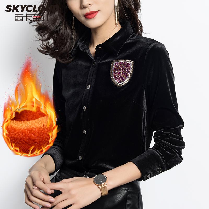 黑色絲絨襯衫女復古金絲絨港味上衣2020春季鑲鉆長袖加絨打底衫潮