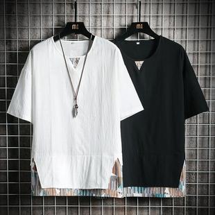 短袖 唐装 夏季 男青年复古汉服居士服古风佛系男装 上衣中国风中式
