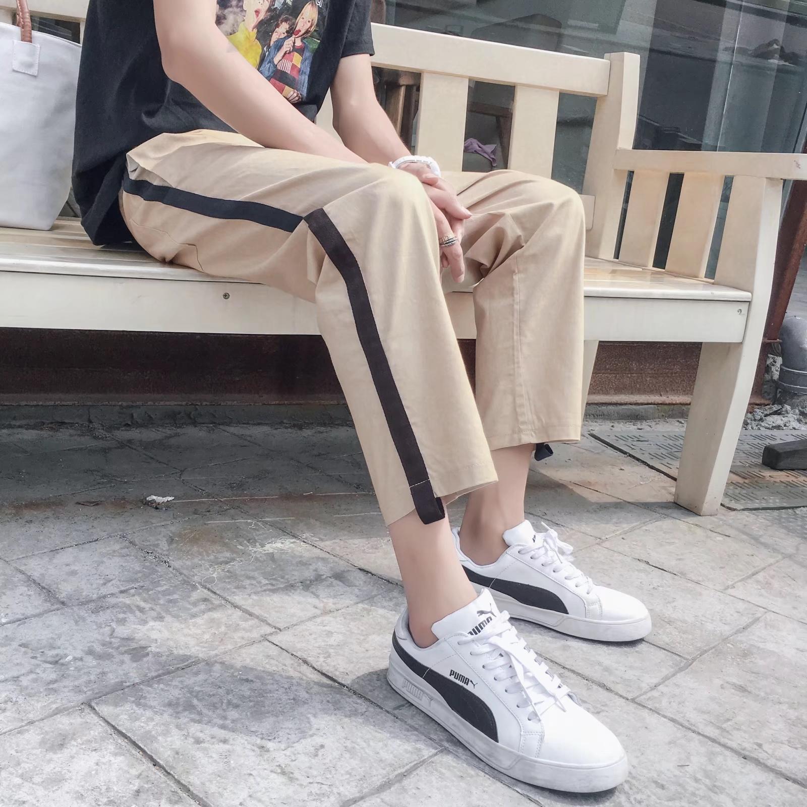 ins超火的裤子韩版潮宽松条纹九分裤男bf风9分直筒裤男les裤子帅t