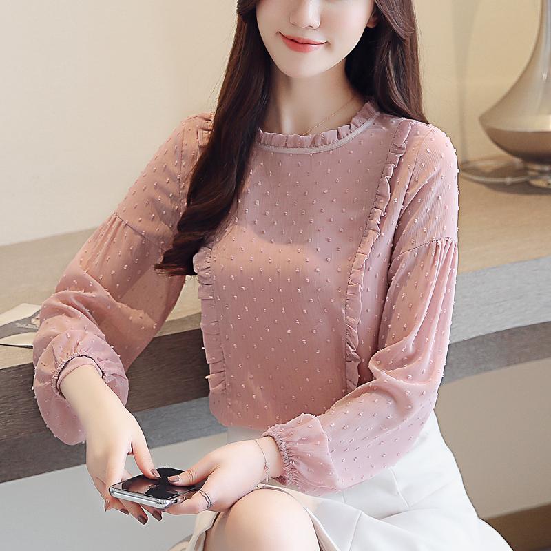 2018秋装新款韩版气质淑女长袖雪纺衫女装甜美衬衫波点打底衫上衣