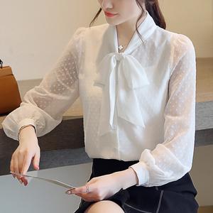 2021春秋新款韩版修身气质波点雪纺衬衫女蝴蝶结白色打底长袖小衫