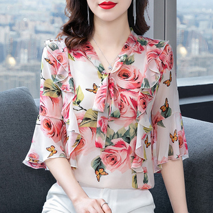 宽松雪纺衬衫女短袖2021新款时尚碎花上衣显瘦遮肚子减龄洋气小衫