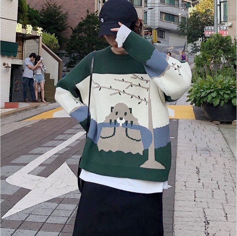 2020 new Korean autumn dress Japanese cartoon design foreign style round neck loose lazy style womens Pullover