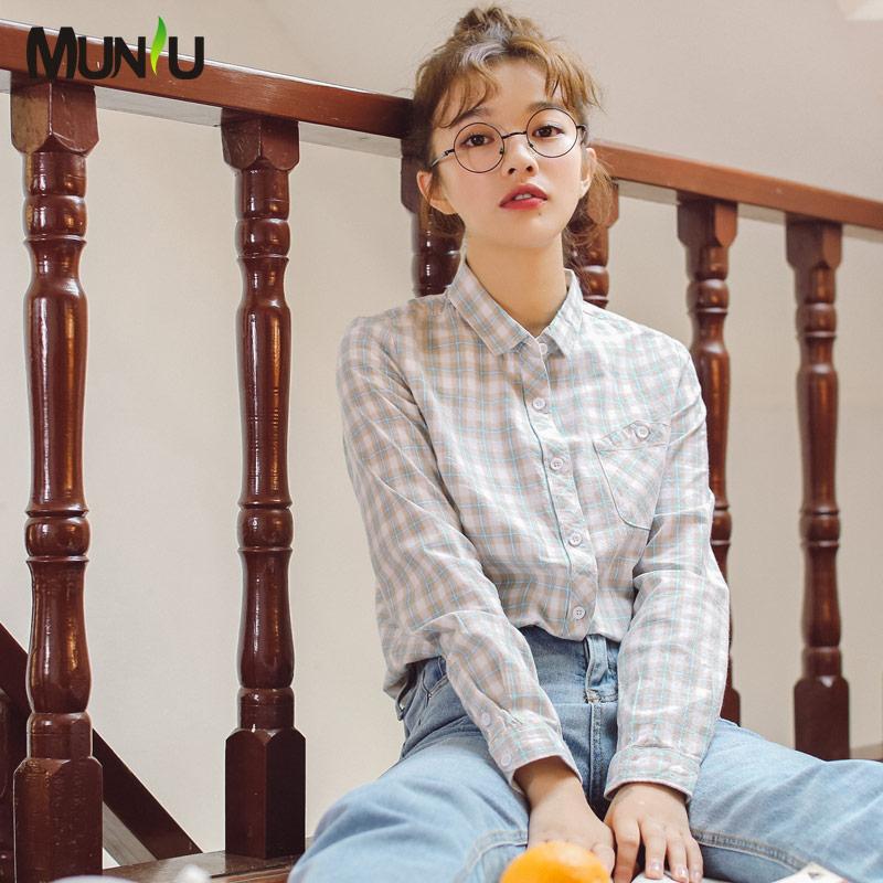 慕妞2019秋季新款韩版格子长袖衬衫热销632件买三送一