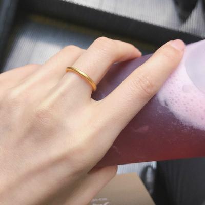 原创18K包金古法戒指女时尚个性素戒沙金网红潮精致简约冷淡风细