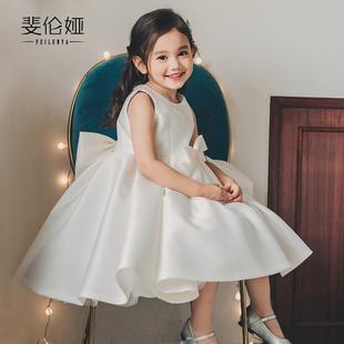花童婚礼小女孩婚纱女童生日礼服公主裙儿童钢琴演出服洋气白色女