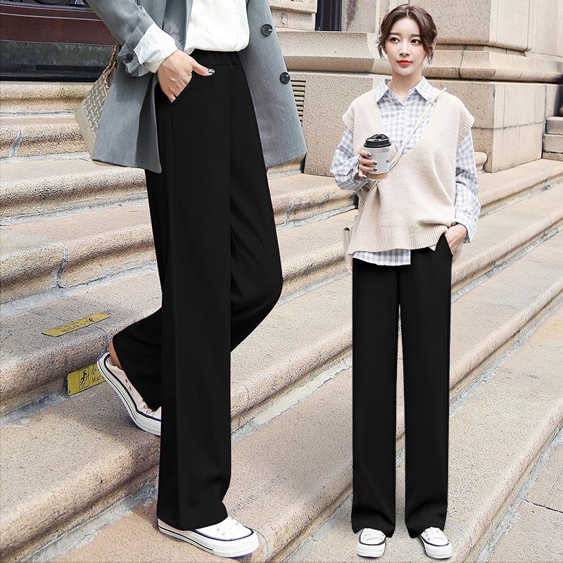 阔腿裤女高腰垂感宽松直筒显瘦夏季薄款坠感拖地休闲西装春秋裤子