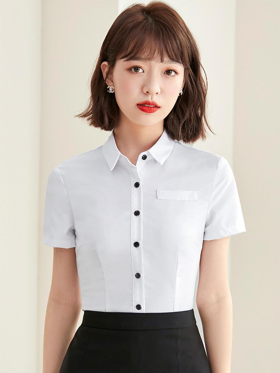 夏季新款短袖衬衫方领上衣时尚气质修身通勤韩版酒店销售工作服女