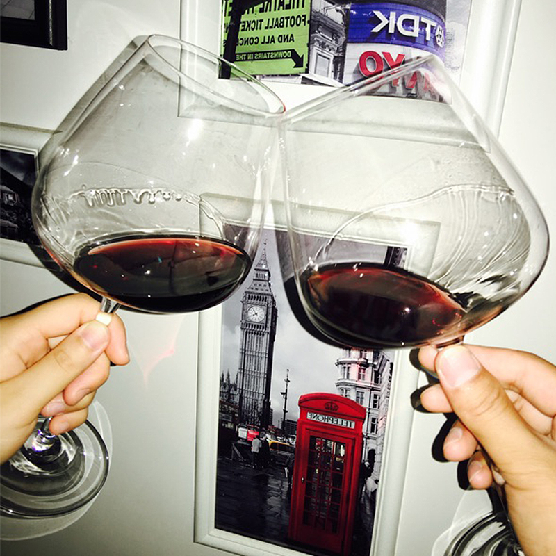红酒杯套装 家用6只装水晶玻璃杯勃艮第酒杯欧式2个小奢华高脚杯