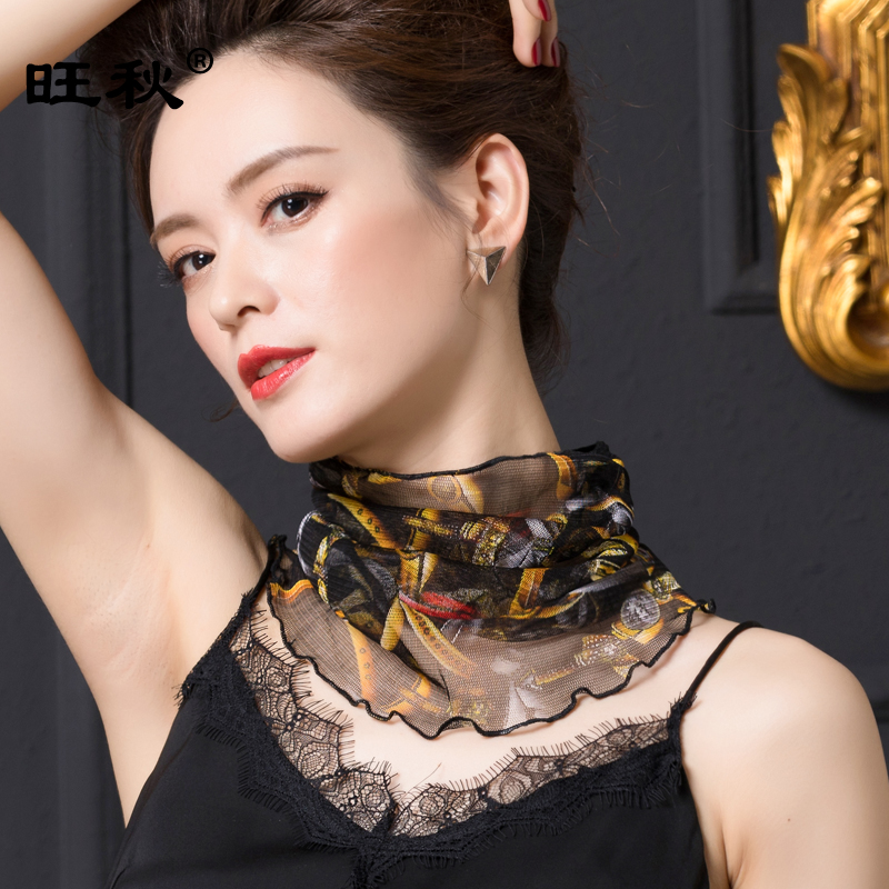Summer cold proof mesh silk neck scarf for women pure silk false collar womens neck silk scarf