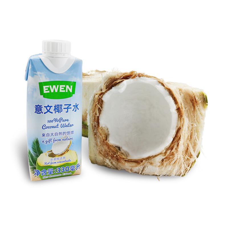 原装进口意文椰子水0添加青椰果汁纯椰汁330ml*3瓶健康果汁饮料